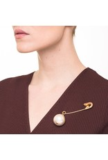 Wouters & Hendrix SAFETY PIN BROOCH WITH PEARL