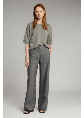 Zenggi Linen Delave Wide Leg Pants Charcoal