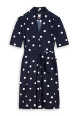 Travel Dress Short Sleeve Dress Dot Print Ink Blue