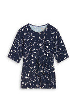 Travel Dress Wide Tee Top Flower Print Ink Blue