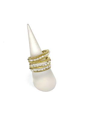 Sissy Koukeri Ring breed goud met kleine parels