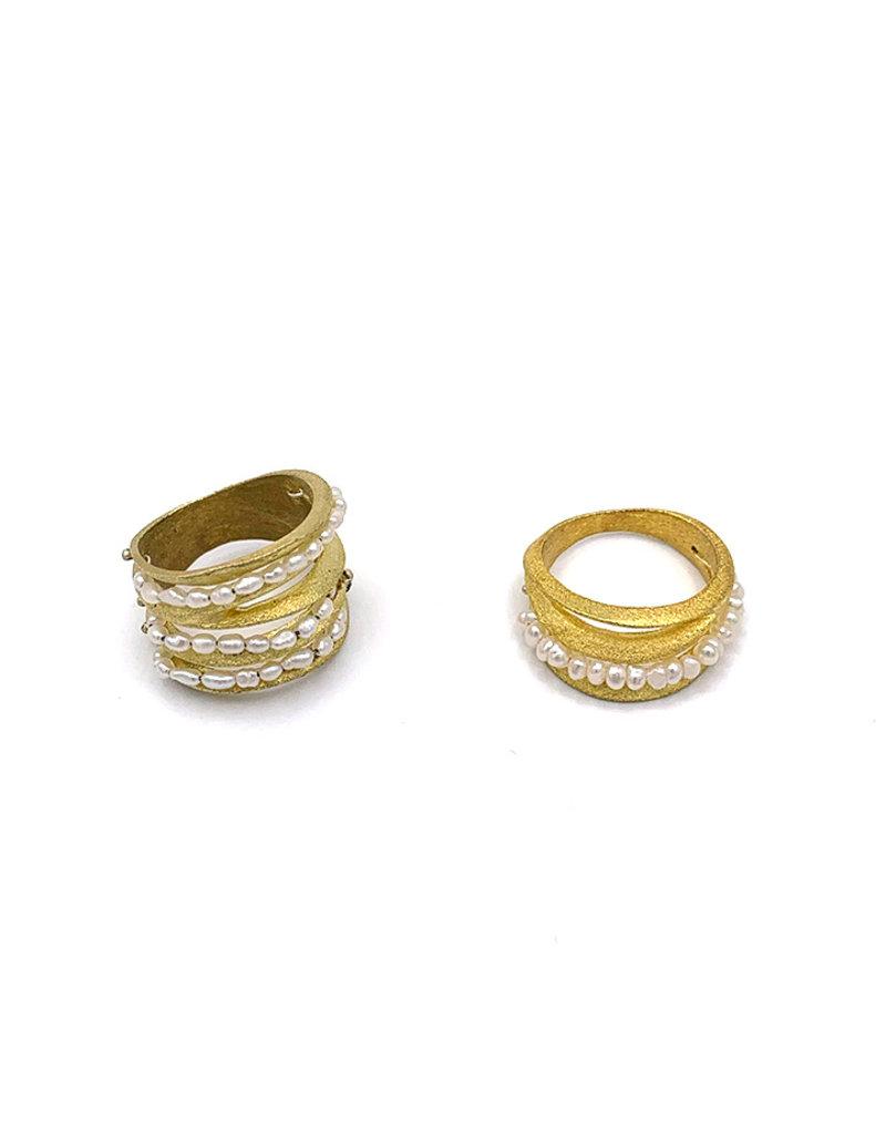 Sissy Koukeri Ring goud met parels