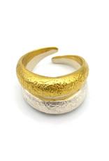Sissy Koukeri Ring aanpasbaar getrommeld goud en zilver