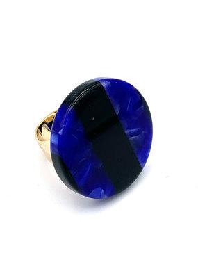 Ring blauw/zwart rond