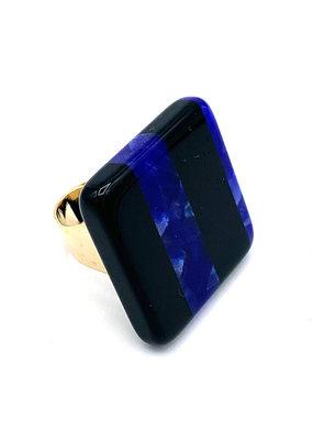 Ring blauw/zwart vierkant