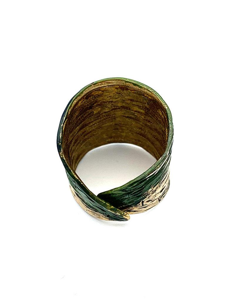 Tina Kotsoni Ring breed aanpasbaar zilver/groen