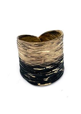 Tina Kotsoni Ring breed aanpasbaar zilver/zwart