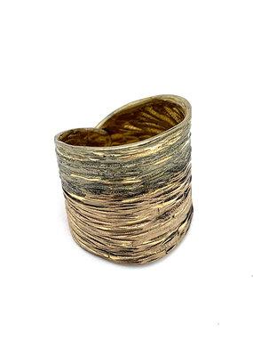 Tina Kotsoni Ring breed aanpasbaar zilver/beige
