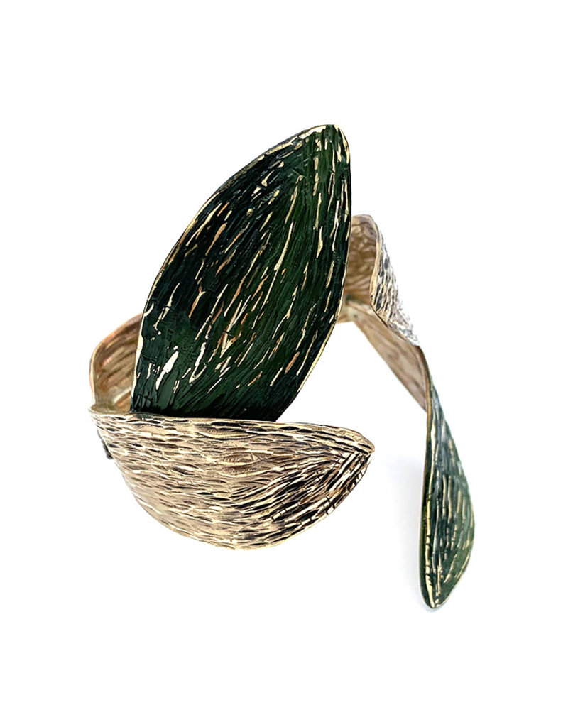 Tina Kotsoni Armband vast blaadjes zilver/groen