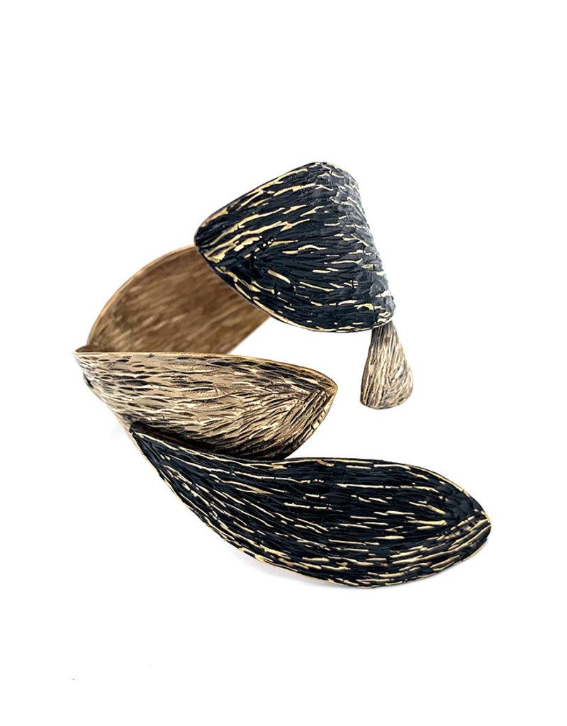 Tina Kotsoni Armband vast blaadjes zilver/zwart