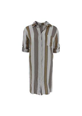 Nukus Paiy Shirt Linnen Stripe Beige Caffee