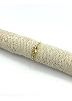 Ring zilver verguld blad met kristal