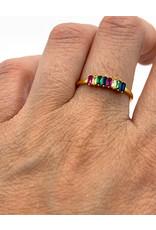 Ring zilver verguld gekleurde steentjes