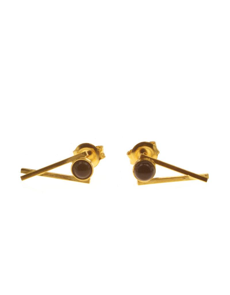 Rebels & Icons Earrings chopsticks gold with gemstone