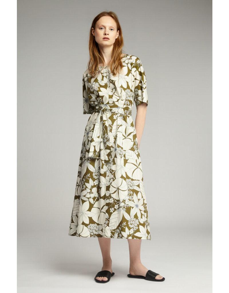 Zenggi Cotton Print Relaxed Dress Safari Green