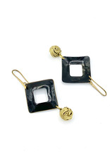Replica Oorbellen hangers open vierkant met bolletje zwart/goud