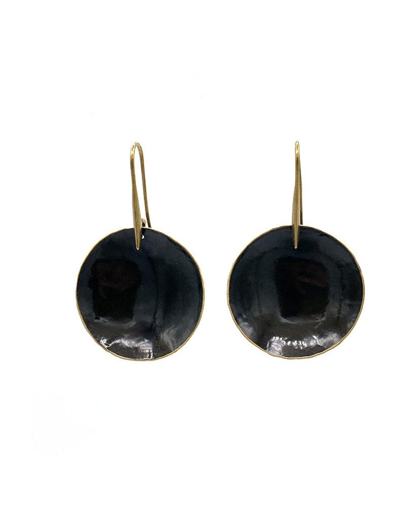 Replica Oorbellen hangers medium rond plaatje zwart