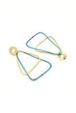 Replica Oorbellen stekers met ronde knop en 2 grote driehoekige hangers goud/turquoize