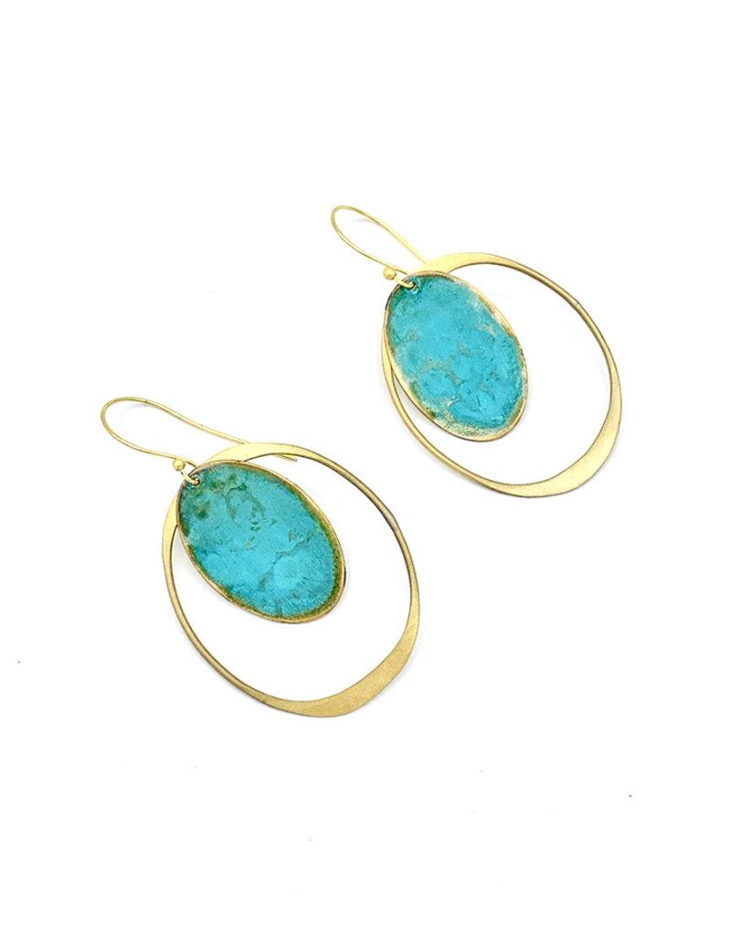 Replica Oorbellen hangers met open ovaal en volle ovaal turquoize/goud