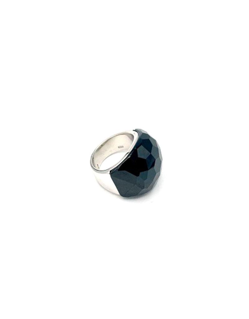 Ring zilver breed grote zwarte steen