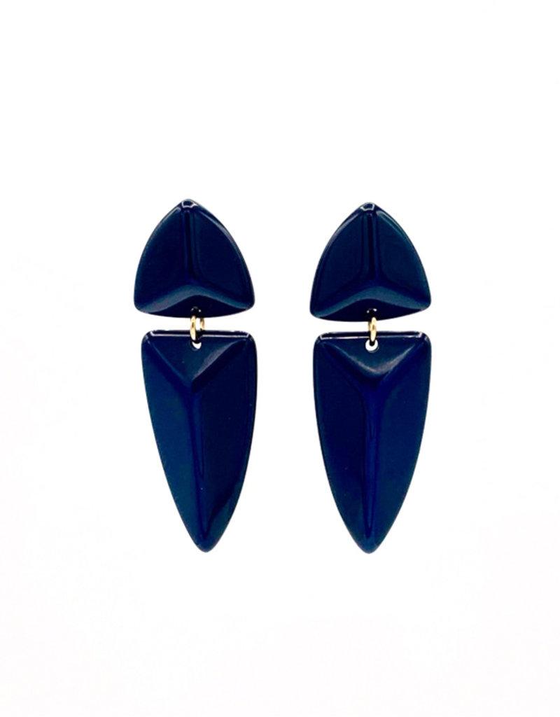 Oorbellen Stekers driehoek met hanger Blauw