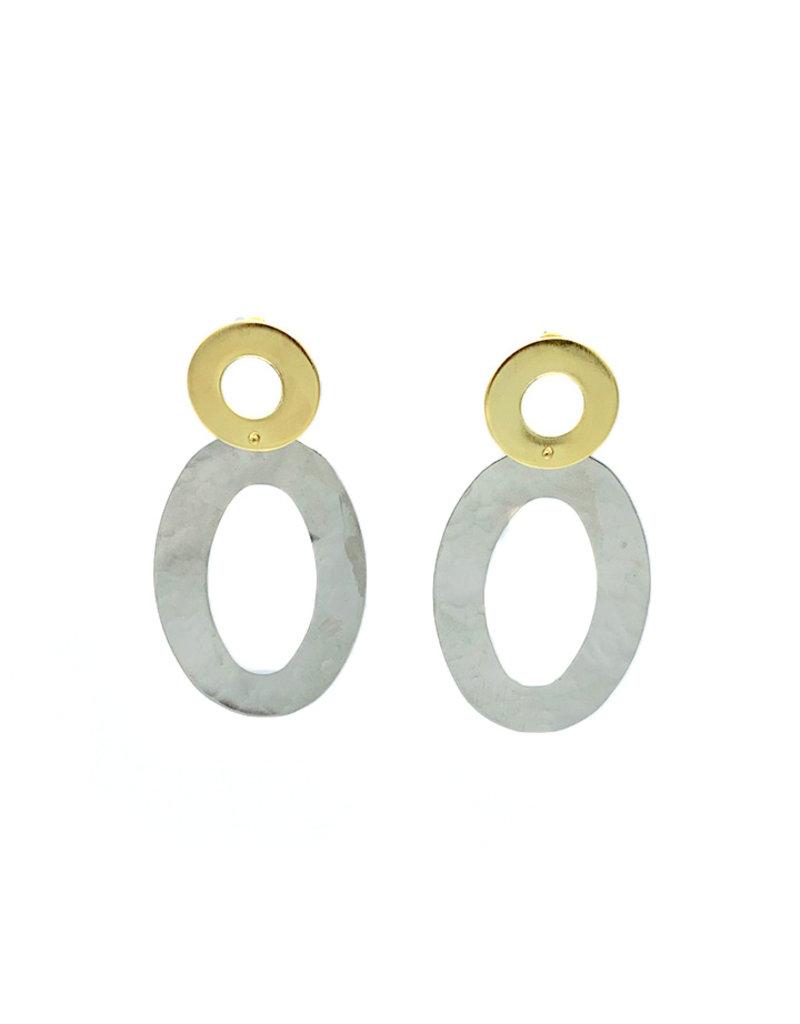 Replica Oorbellen stekers hangend 2 grote open ovalen goud/zilver