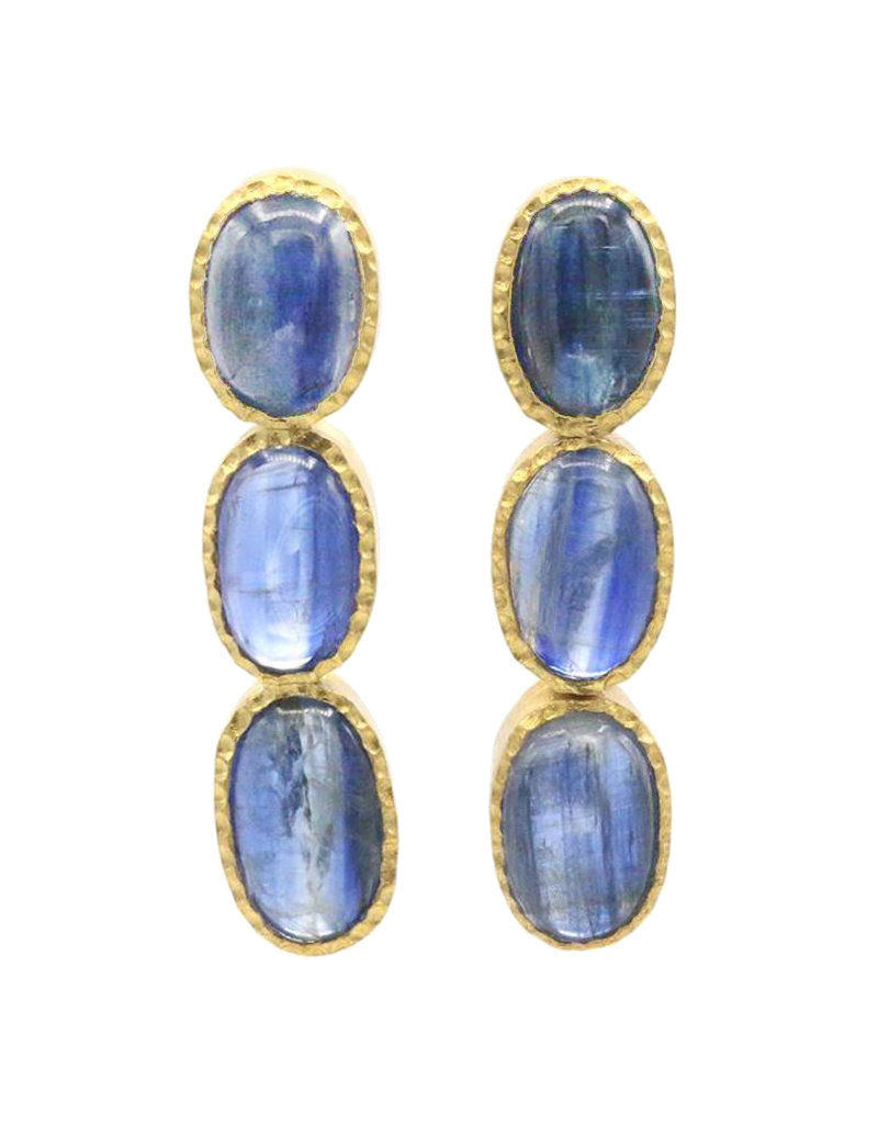 Adore Earrings with three blue saffire gemstones