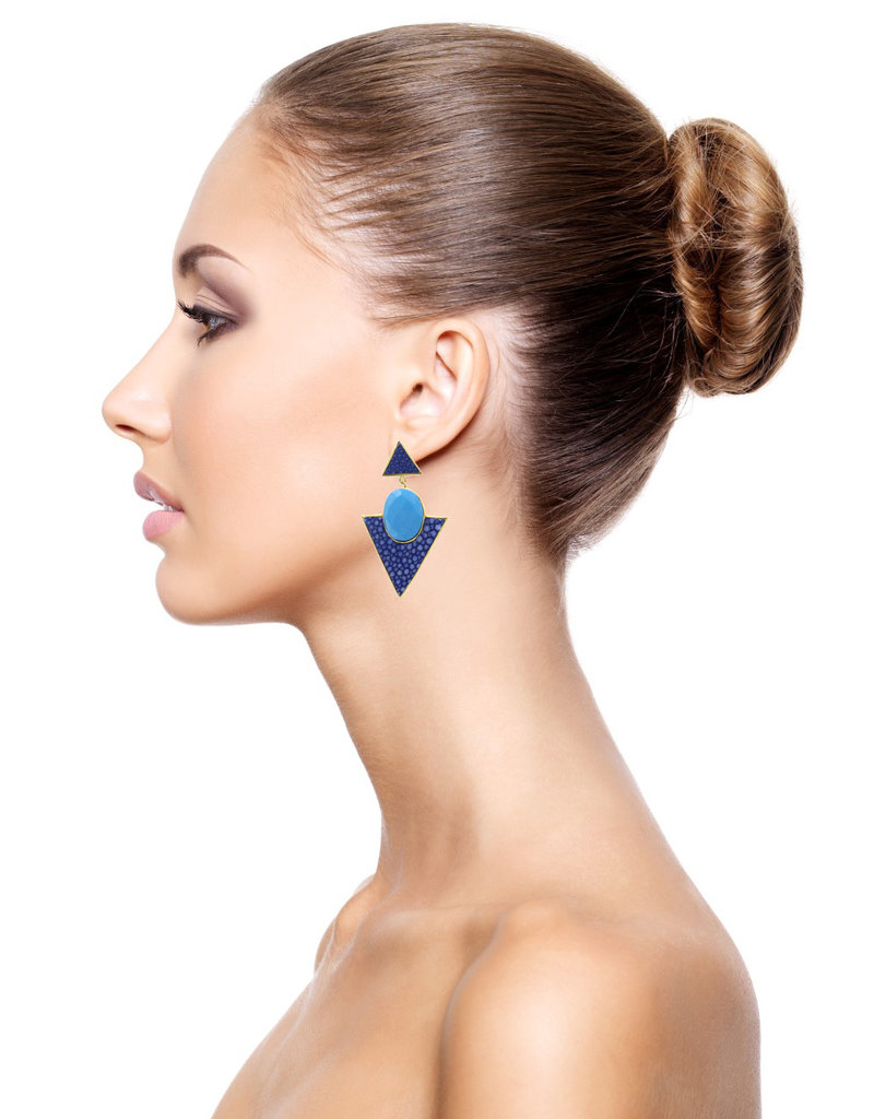 Barong Barong Earrings circle and triangle blue
