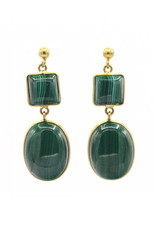 Barong Barong Earrings round and square stone green