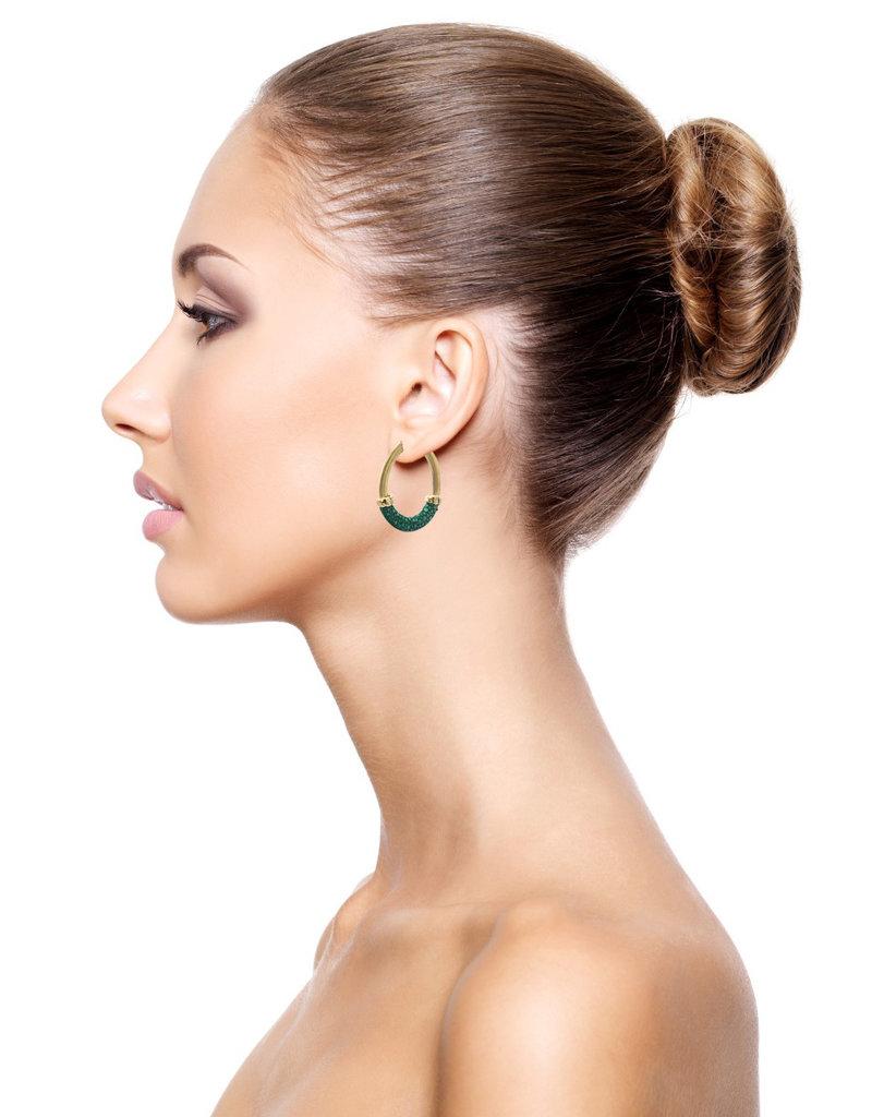 Barong Barong Earrings gold with stingray skin Green