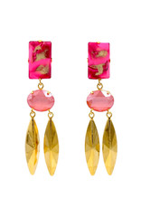 Philippe Ferrandis Earrings clips two stones and two golden leaves pink