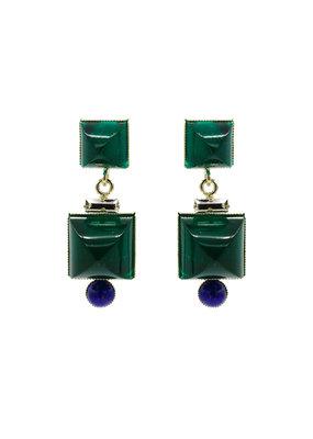 Philippe Ferrandis Oorbellen stekers 2 vierkantjes en bolletje groen/blauw