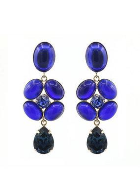 Philippe Ferrandis Earrings stones flower blue