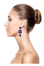 Philippe Ferrandis Earrings stones flower blue
