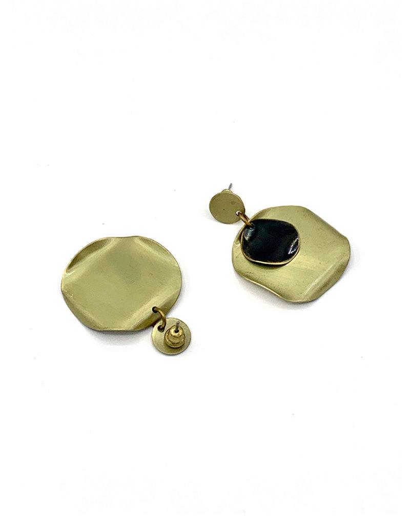 Replica Oorbellen Steker cirkel en onregelmatig cirkel met kleine cirkel Goud/Zwart