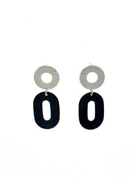 Replica Oorbellen stekers open cirkel en ovalen open hanger met reliëf zwart