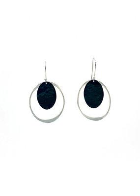 Replica Oorbellen hangers met open ovaal en volle ovaal zwart/zilver