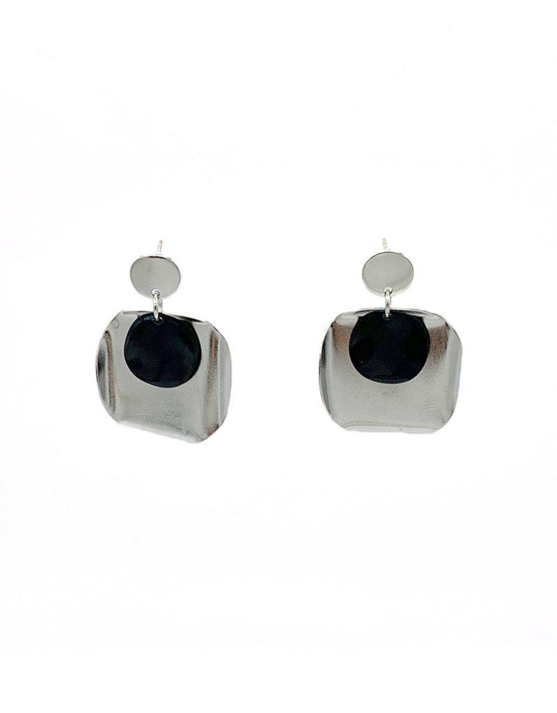 Replica Oorbellen Steker cirkel en onregelmatig cirkel met kleine cirkel Zilver/Zwart