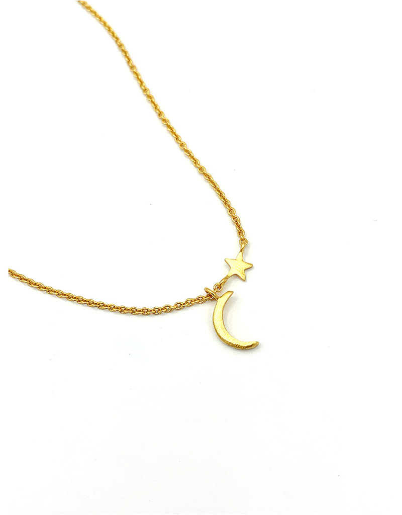 Halskettingen Vermeille kort met maan en ster