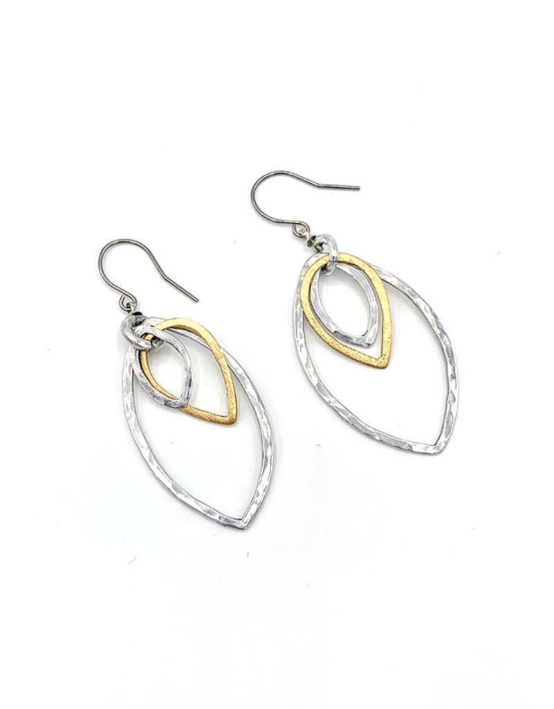 Oorbellen hangers 3 druppels goud/Zilver