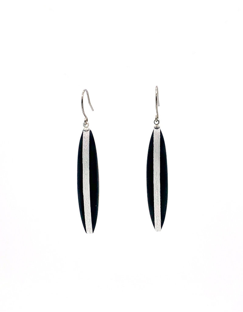 Oorbellen lange hangers zwart/zilver
