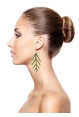Leather Trinkets Earrings leather leaf Gold/Black