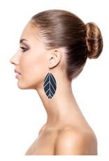 Leather Trinkets Earrings leather leaf Blue/Silver