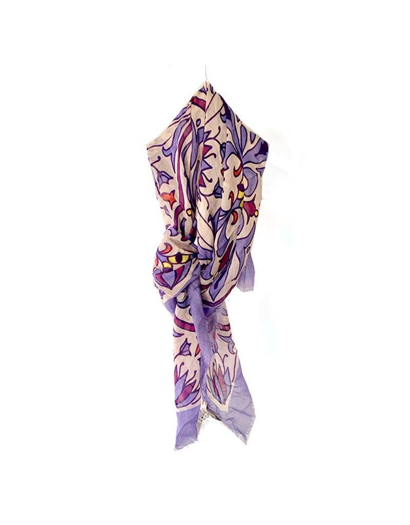 Ordito Sjaal vierkant lila/oranje print
