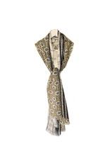 Scarf Sjaal met vierkanten en print geel/zwart