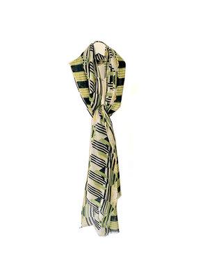 Scarf Sjaal met print groen/zwart/geel