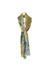 Scarf Sjaal met bloemen groen/blauw