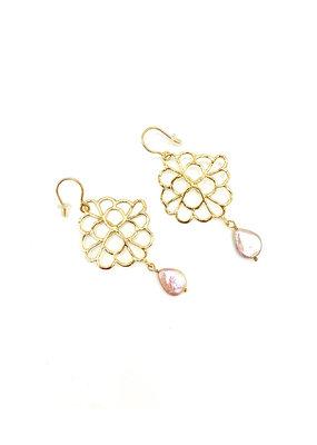 Jéh Jewels Oorbellen hangers groot goud met zoetwaterparel