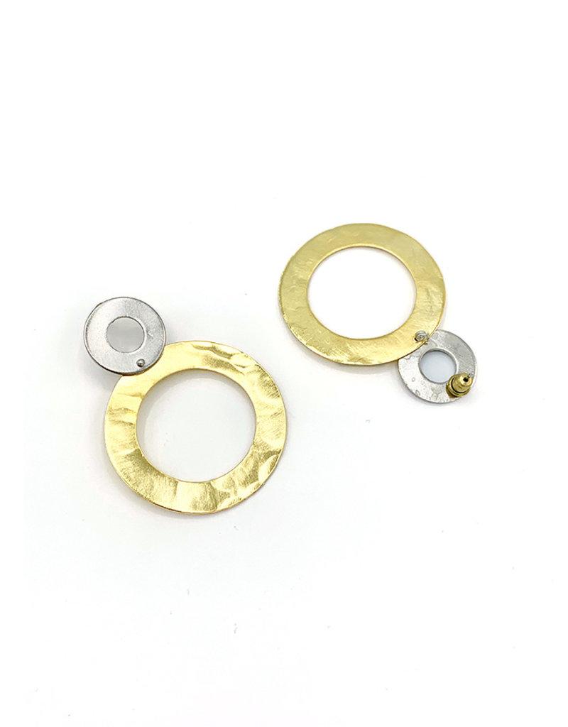 Replica Oorbellen stekers kleine cirkel zilver met grote cirkel goud