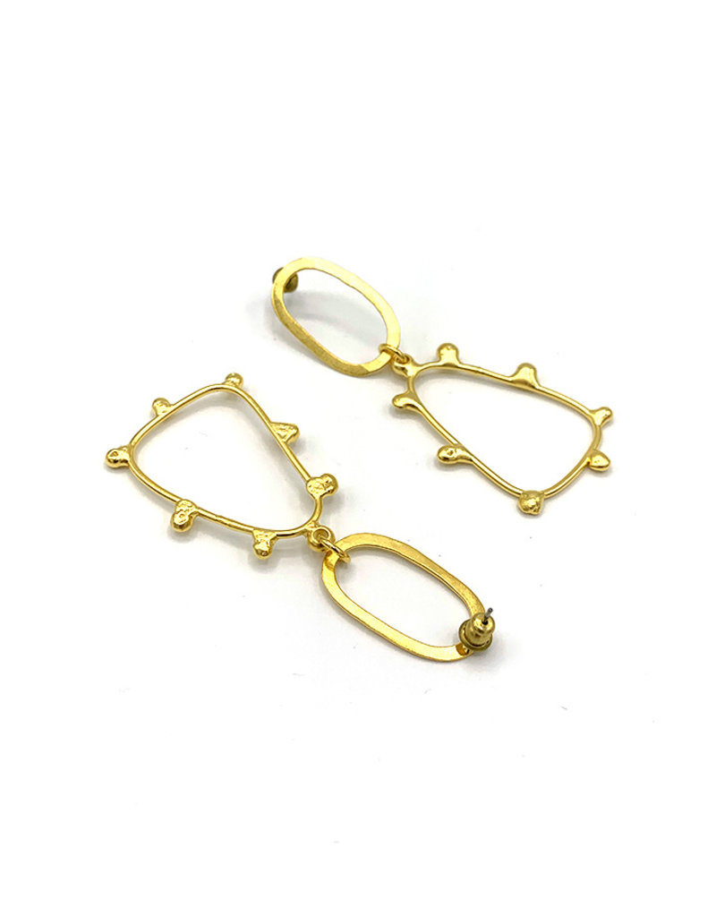 Replica Oorbellen Stekers ovaal met driehoek en dots goud